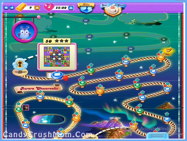 for Candy Crush Dreamworld Aurora Chocorealis Episode: Level 36 – 50